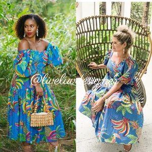 ANTHROPOLOGIE Farm Rio Tropics Tiered Midi Dress
